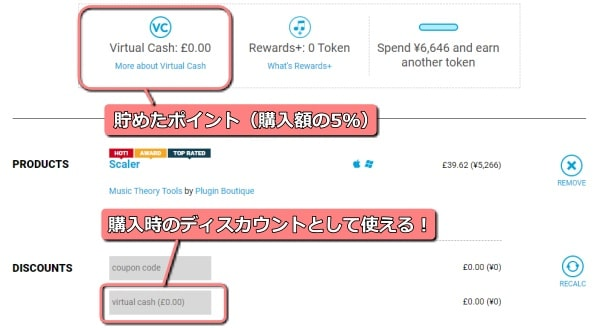 Plugin Boutique 「Virtual Cash」ポイントが貯まる