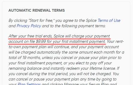 Splice Plugins 無料トライアルは3日間だけ
