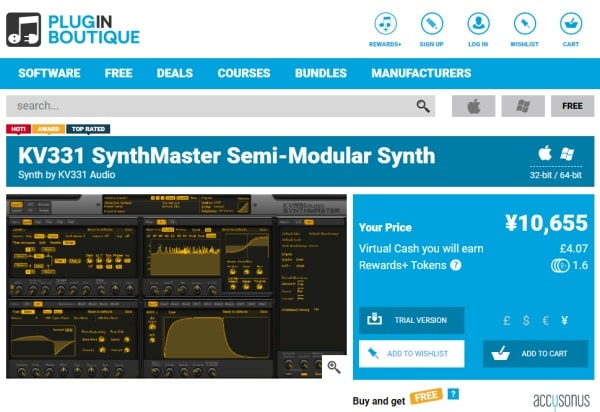 KV331 Audio Synthmaster V2.9 Plugin Boutiqueで購入