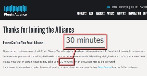 Plugin Alliance 30分以内にメール確認する